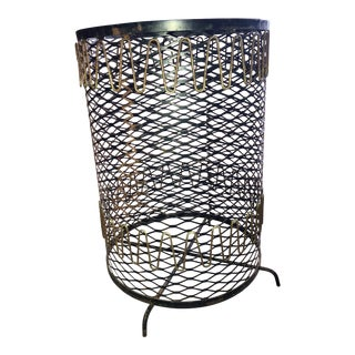 20th Century Boho Chic Metal Mesh Wastebasket For Sale