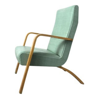 1950s Mid-Century Modern Thonet Bentwood Tall Back Lounge Chair For Sale
