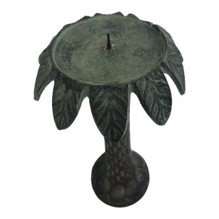 1970s Hollywood Regency Palm Tree Pillar Candlestick For Sale