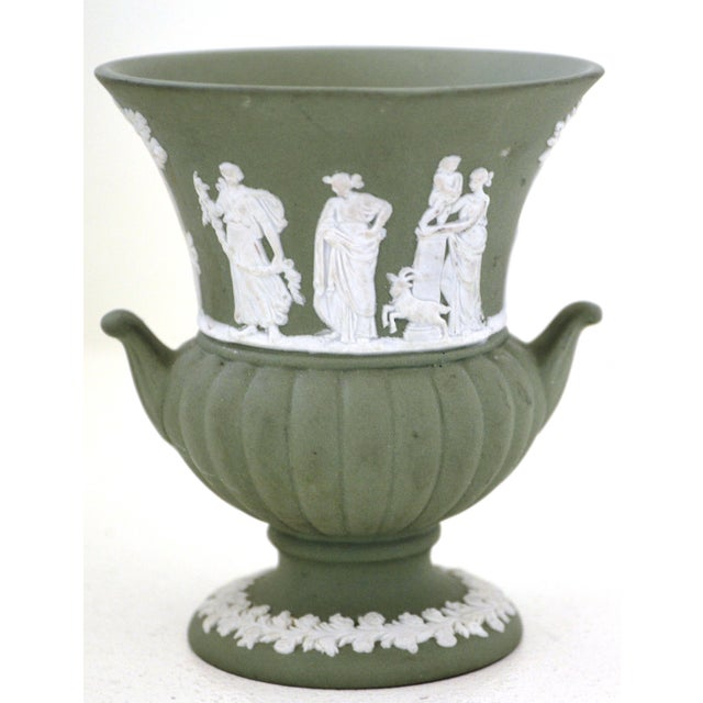Antique Wedgwood Jasperware Vase White on Green Classic Miniature - Image 2 of 9