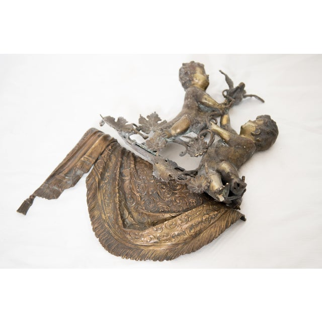 Baroque Brass & Spelter Putti/Cherubs with Bird Ledge Mount For Sale - Image 3 of 8