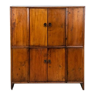 Antique Chinese Double Stacked Elm Cabinet For Sale