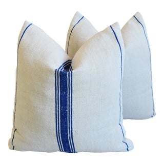 "Navy Blue Striped French Farmhouse Grain Sack Feather/Down Pillows 21"" Square - Pair For Sale"