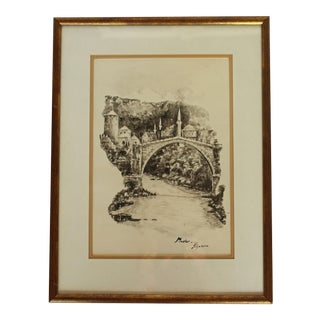 """Mid 20th Century Work on Paper """"Stari Most"""" by Klyakoric For Sale"""