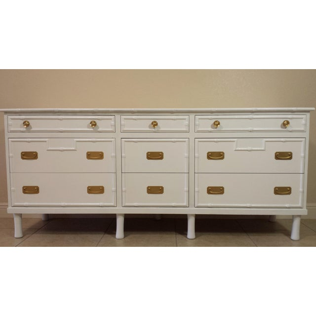 Gold Faux Bamboo Ficks Reed High Gloss White Dresser For Sale - Image 8 of 8