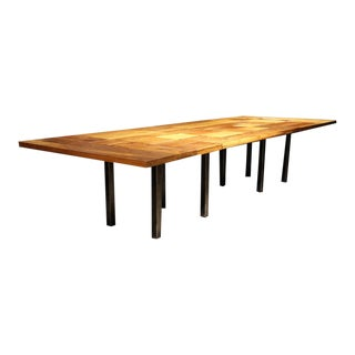 Large Iron and Wood Dining Table For Sale