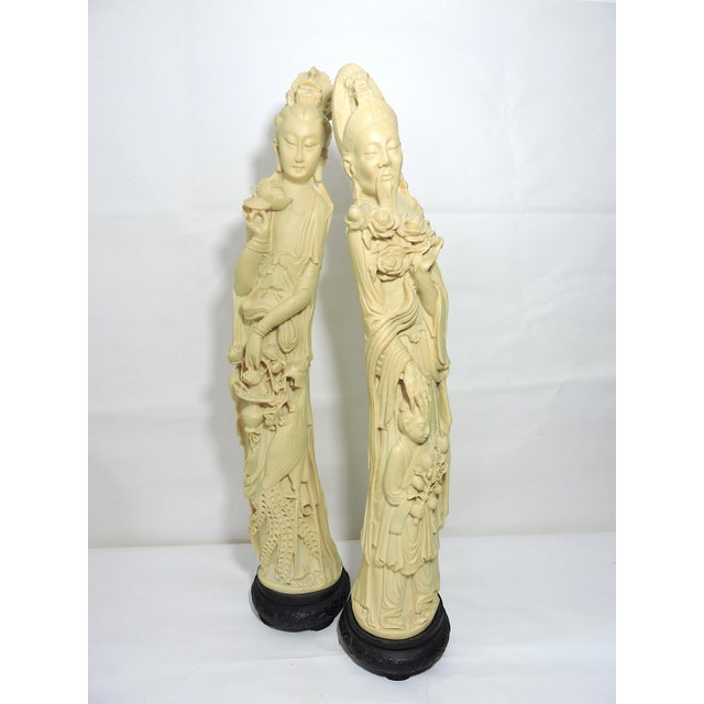 1960s Mid 20th. Century Italian / Chinese 'Ivory' (Resin) Nobles Statues or Figures - a Pair For Sale - Image 5 of 11