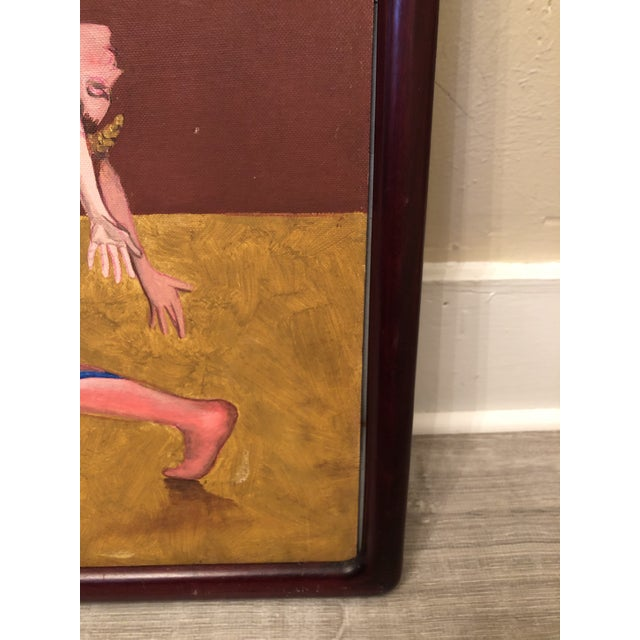 """Paint 1990s """"Dancers with Hawk"""" Surrealist Style Figurative Painting, Framed For Sale - Image 7 of 8"""