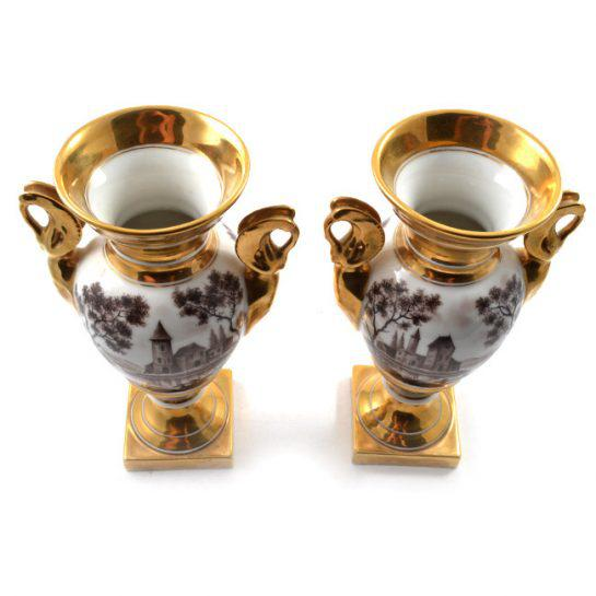 19th Century Antique French Porcelain Vases-a Pair For Sale - Image 9 of 13