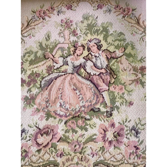 French Provincial Tapestry Salon Chairs - A Pair For Sale - Image 9 of 13