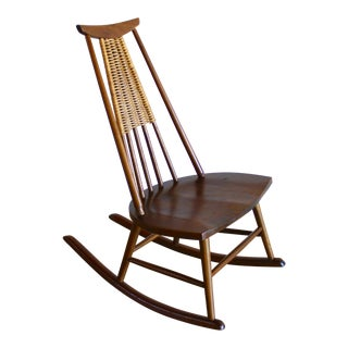 1960s Mid Century Modern Nakashima Style Walnut Wicker Japanese Shaker Rocking Chair
