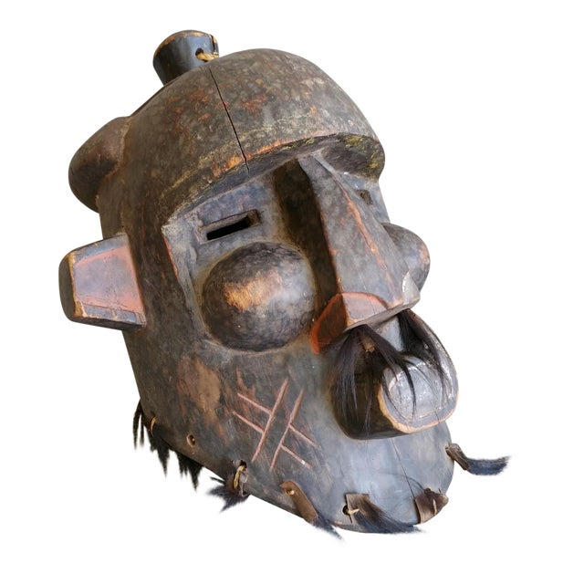 Early 20th Century African Carved Wood Full Head Mask For Sale