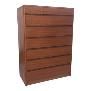 Vintage Modern Teak Highboy Dresser For Sale