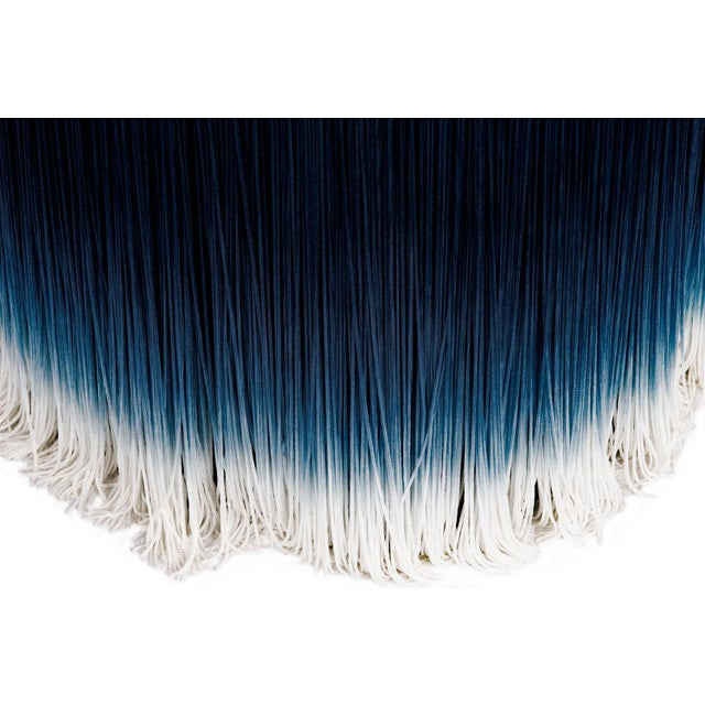 Contemporary Blue Velvet Pouf With Fringe Moooi For Sale - Image 3 of 5