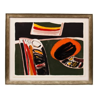 1970s Pierre Celice Abstract Lithograph, Framed For Sale