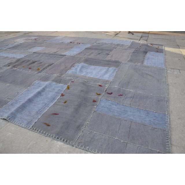 Gray Patchwork Rug - 5′8″ × 7′10″ For Sale - Image 4 of 6