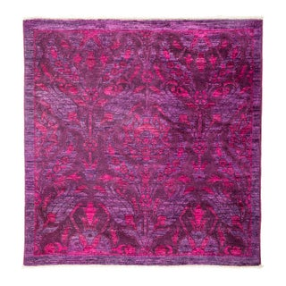 """New Hand-Knotted Overdyed Area Rug - 4'1"""" X 4'2"""""""