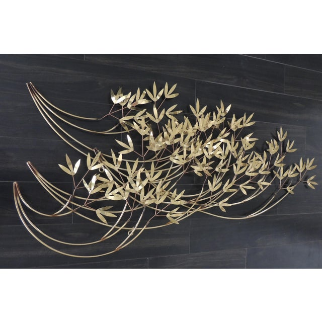 Asian 1980s Mid-Century Modern Curtis Jere Blowing Bamboo Metal Wall Sculpture For Sale - Image 3 of 6