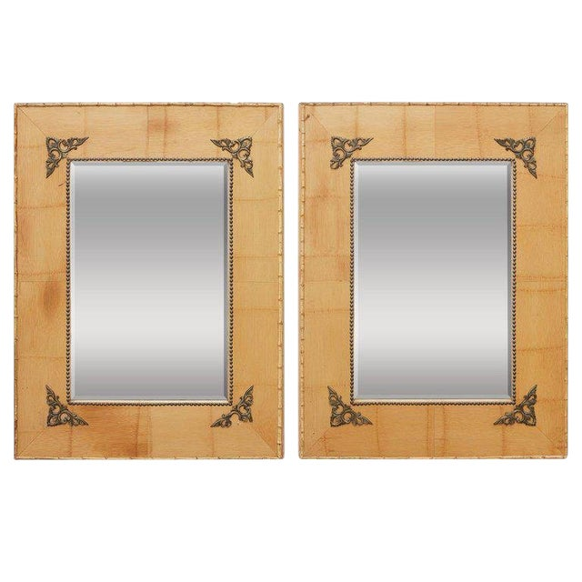 Pair of Bamboo Mirrors With Book Motif For Sale
