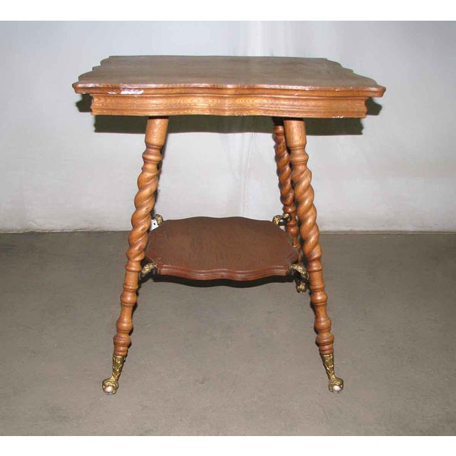 19th Century Victorian Bobbin Leg Oak Side Table For Sale - Image 4 of 6