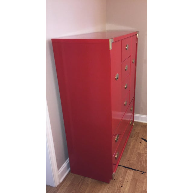 Thomasville Campaign Style Red Lacquered Armoire - Image 6 of 10