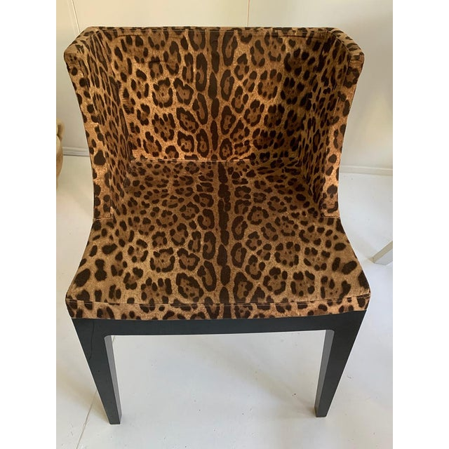 Black and brown upholstered Mademoiselle armchair with Dolce & Gabbana leopard print motif at seat and back, black...