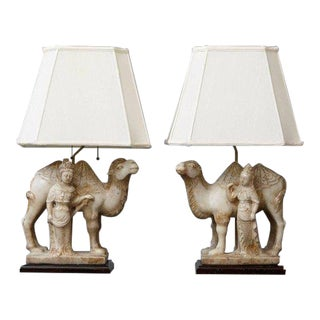 Pair of Hand-Carved Figurative Marble Table Lamps For Sale