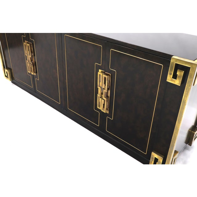 Mastercraft Burl Wood and Brass Greek Key Ornament Long Sideboard Credenza For Sale - Image 9 of 13
