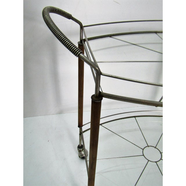 1950s Mid Century Modern Teak and Metal Bar/Tea Cart For Sale - Image 4 of 6