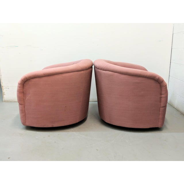 Contemporary Modern Pink Barrel Back Lounge Chairs- A Pair For Sale - Image 3 of 12