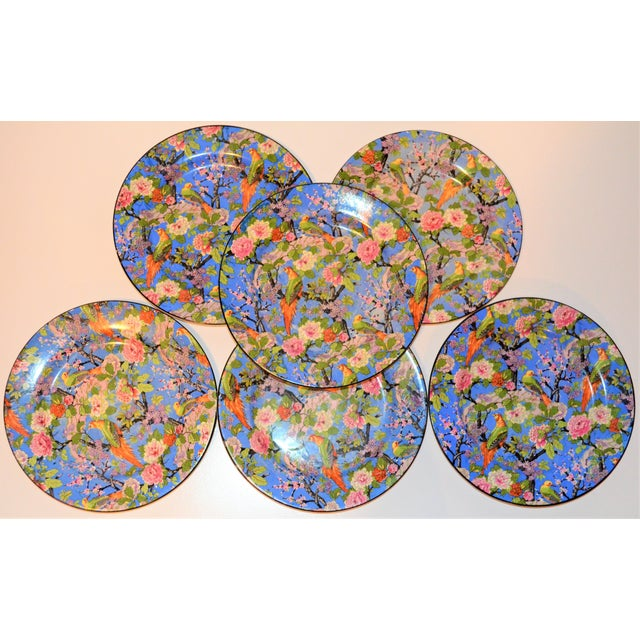 1920's Antique Crown Ducal Blue Chintz Plates - Set of 6 For Sale - Image 9 of 11