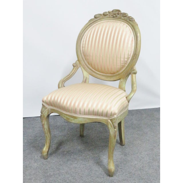 Paint Victorian Style Paint Distressed Side Chair For Sale - Image 7 of 7