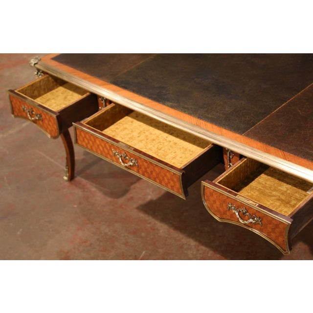 Bronze 19th Century French Louis XV Marquetry and Bronze Bureau Plat With Leather Top For Sale - Image 8 of 13