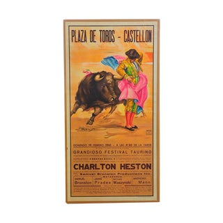 Charlton Heston 1960s Spanish Bullfight Poster For Sale