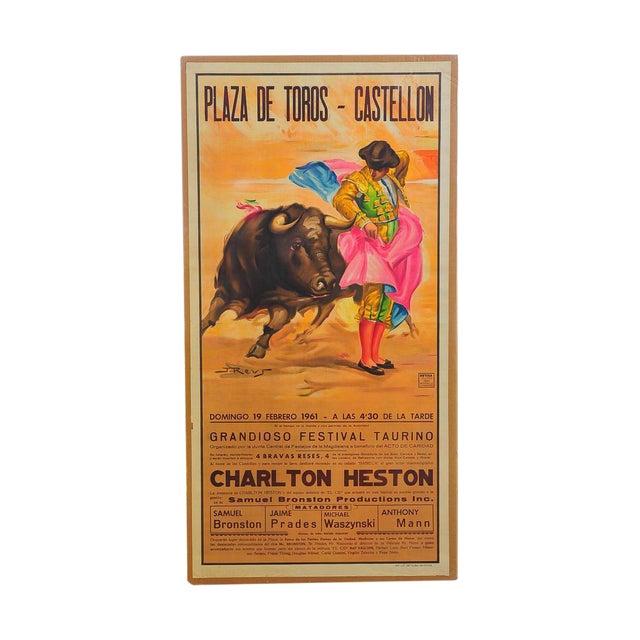 Charlton Heston 1960s Spanish Bullfight Poster For Sale