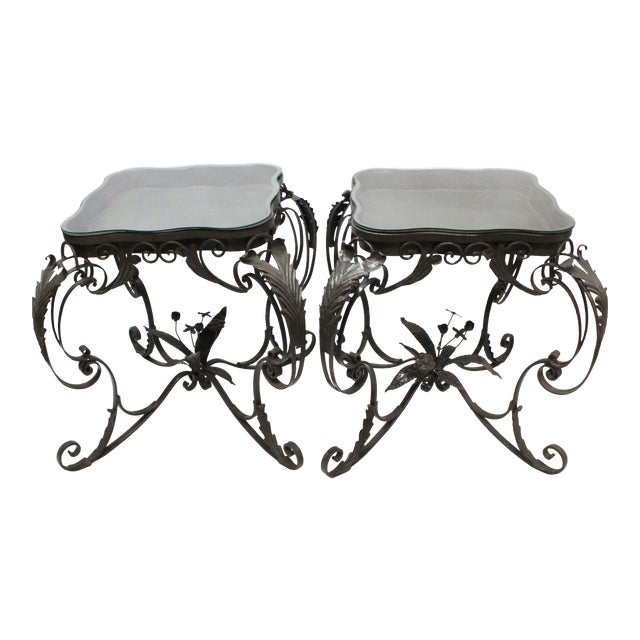 Iron Bent Floral Side Tables - A Pair For Sale