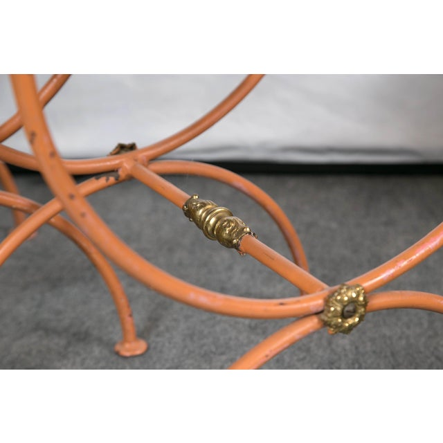 Mid 20th Century Jean Charles Moreux Burnt Orange Tole Benches - a Pair For Sale - Image 5 of 9