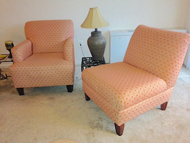 Orange U0026 Cream Club Chairs   A Pair   Image 4 ...