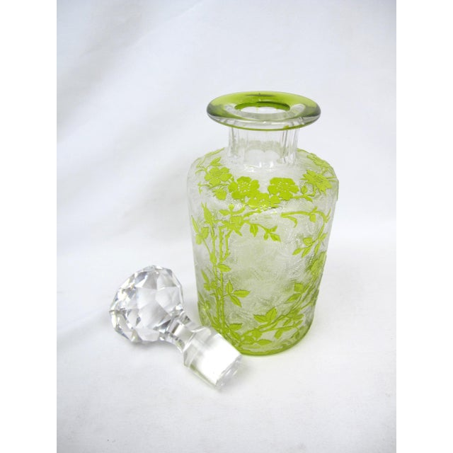 Traditional Vintage Czech Cameo Glass Briar Roses Vanity Bottle For Sale - Image 3 of 7