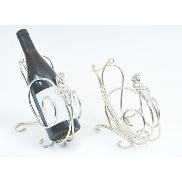 English Silver Plated Spinx Barware Wine Bottle Holder For Sale - Image 4 of 10