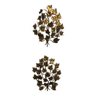 Italian Gold Gilt Grape Sconces - a Pair For Sale