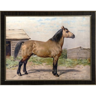 Canadian Horse by Eerelman Framed in Italian Wood Vener Moulding For Sale