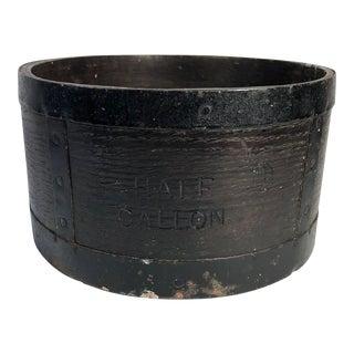 Late 19th Century Antique English Victorian Half Gallon Walnut & Iron Grain Measure For Sale