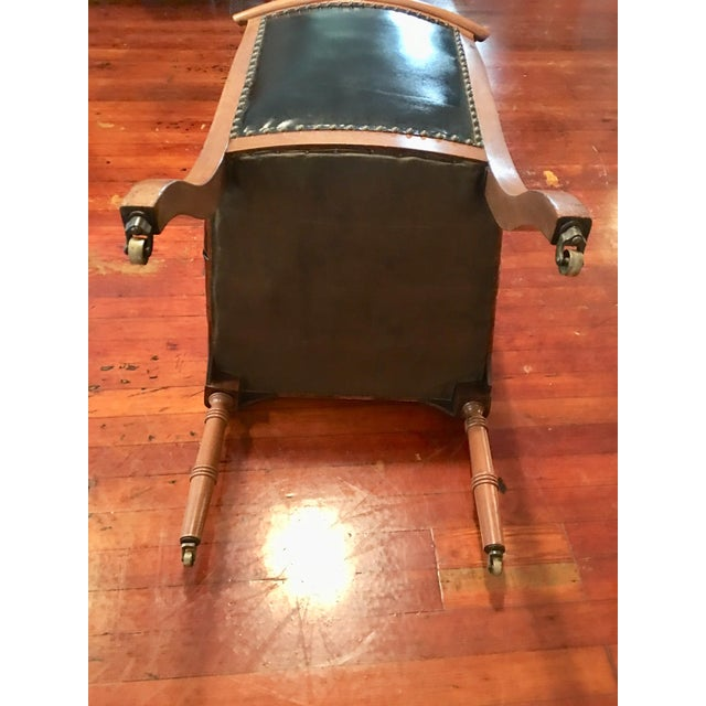 1940s **Final Price** Vintage Tufted Black Leather Arm Chair For Sale - Image 5 of 7
