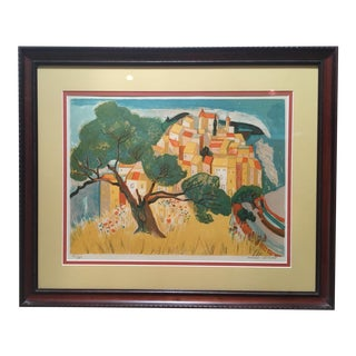 Late 20th Century Vintage Georges Lambert European Village & Countryside Framed Lithograph Print
