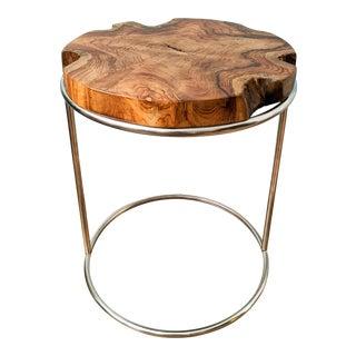 Organic Modern Live Edge Wood Slab and Chrome Side Table For Sale