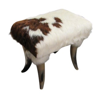 Vintage Brown and White Cowhide Footstool With Horn Legs For Sale