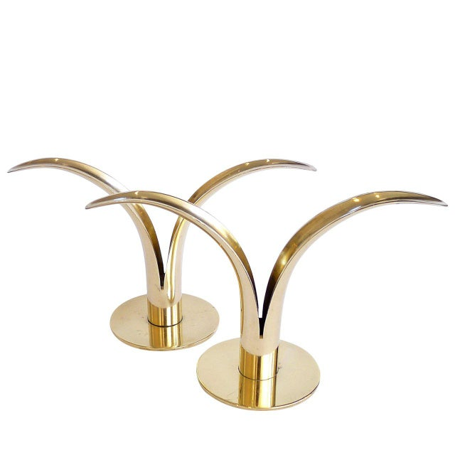 "Ystad Metall ""Liljan"" Brass Candleholders by Ivar Ålenius Björk - a Pair For Sale - Image 4 of 4"