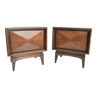 1960s Mid-Century ModernKagan Style Diamond Front Nightstands - a Pair