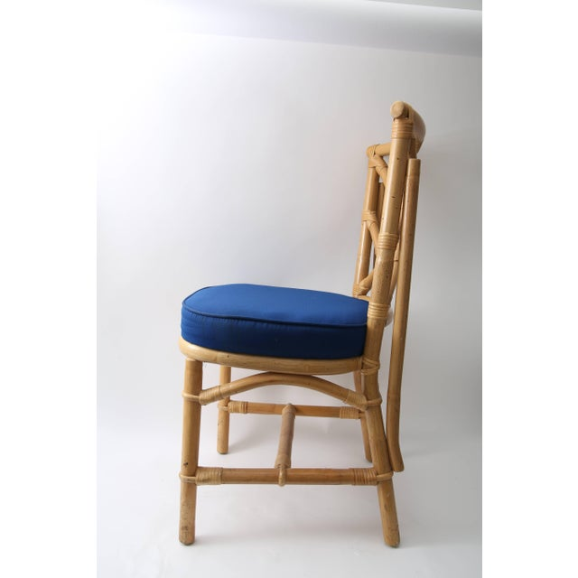 Wood Set of Four Bamboo Side Chairs For Sale - Image 7 of 13